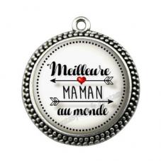 """Pendentif Cabochon en Résine """"Meilleure Maman du Monde"""" 25mm pour la Création de Bijoux Fantaisie - DIY"""