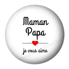 """Cabochon en Résine à Coller """"Papa Maman je vous aime"""" 25mm pour la Création de Bijoux Fantaisie - DIY"""
