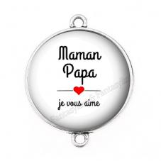"""Connecteur Cabochon en Résine """"Papa Maman je vous aime"""" 25mm pour la Création de Bijoux Fantaisie - DIY"""
