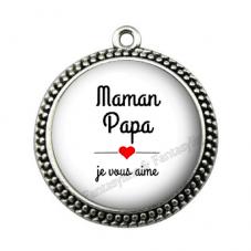 """Pendentif Cabochon en Résine """"Papa Maman je vous aime"""" 25mm pour la Création de Bijoux Fantaisie - DIY"""