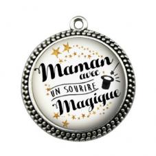 """Pendentif Cabochon en Résine """"Maman Magique"""" 25mm pour la Création de Bijoux Fantaisie - DIY"""
