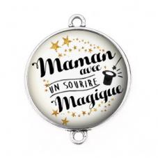 """Connecteur Cabochon en Résine """"Maman Magique"""" 25mm pour la Création de Bijoux Fantaisie - DIY"""