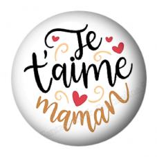 """Cabochon en Résine à Coller """"Je t'aime Maman"""" 25mm pour la Création de Bijoux Fantaisie - DIY"""