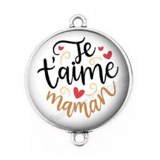 """Connecteur Cabochon en Résine """"Je t'aime Maman"""" 25mm pour la Création de Bijoux Fantaisie - DIY"""