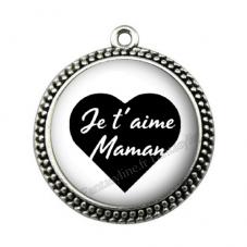 """Pendentif Cabochon en Résine """"Je t'aime Maman"""" 25mm pour la Création de Bijoux Fantaisie - DIY"""