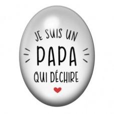 """Cabochon en Verre Illustré """"Papa qui Déchire"""" 13x18 ou 18x25mm pour la Création de Bijoux Fantaisie - DIY"""