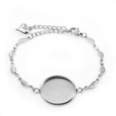 Support Bracelet Argenté Feuilles en Acier inoxydable pour Cabochon 20mm pour la Création de Bijoux Fantaisie - DIY