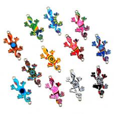 4 Connecteurs Lézard Gecko en Émail Coloré 23x12mm