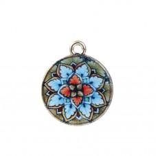 Breloque Médaille Mandala en Émail Métal Doré 21x13mm pour la Création de Bijoux Fantaisie - DIY