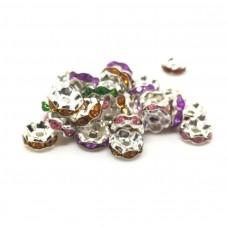 100 Perles Intercalaires en Métal avec Strass Multicolore 8mm pour la Création de Bijoux Fantaisie - DIY