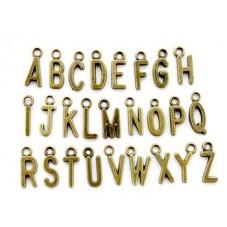 26 Breloques Lettres Alphabet Complet Bronze 16mm pour la Création de Bijoux Fantaisie - DIY