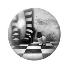 Cabochon en Verre Illustré Alice au Pays des Merveilles 12 à 25mm pour la Création de Bijoux Fantaisie - DIY