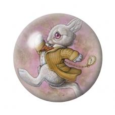 Cabochon en Verre Illustré Lapin Alice au Pays des Merveilles 12 à 25mm pour la Création de Bijoux Fantaisie - DIY