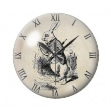 Cabochon en Verre Illustré Horloge Alice au Pays des Merveilles 12 à 25mm pour la Création de Bijoux Fantaisie - DIY