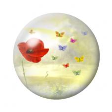 Cabochon en Verre Illustré Fleurs Coquelicots 12 à 25mm pour la Création de Bijoux Fantaisie - DIY