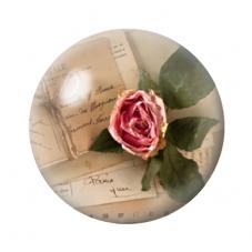 Cabochon en Verre Illustré Fleurs Roses 12 à 25mm pour la Création de Bijoux Fantaisie - DIY