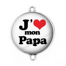 """Connecteur Cabochon en Résine """"J'aime mon Papa"""" 25mm pour la Création de Bijoux Fantaisie - DIY"""