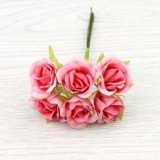 6 Tiges de Fleur Rose Rose 2-3cm