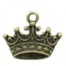 5 Breloques Couronne Princesse Bronze Vintage 35mm pour la Création de Bijoux Fantaisie - DIY