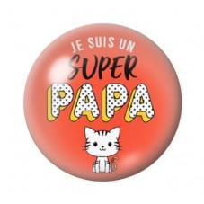 """Cabochon en Verre Illustré """"Super Papa"""" 12 à 25mm pour la Création de Bijoux Fantaisie - DIY"""