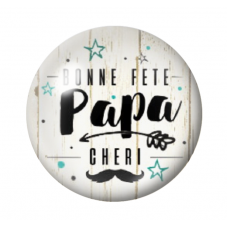"""Cabochon en Verre Illustré """"Bonne Fête Papa Chéri"""" 12 à 25mm pour la Création de Bijoux Fantaisie - DIY"""