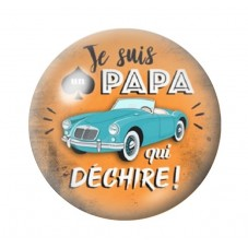 """Cabochon en Verre Illustré """"Papa qui Déchire"""" 12 à 25mm pour la Création de Bijoux Fantaisie - DIY"""
