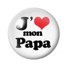 """Cabochon en Verre Illustré """"J'aime mon Papa"""" 12 à 25mm pour la Création de Bijoux Fantaisie - DIY"""