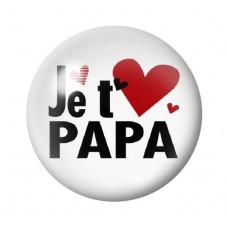 """Cabochon en Verre Illustré """"Je t'aime Papa"""" 12 à 25mm pour la Création de Bijoux Fantaisie - DIY"""
