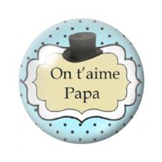 """Cabochon en Verre Illustré """"On t'aime Papa"""" 12 à 25mm pour la Création de Bijoux Fantaisie - DIY"""