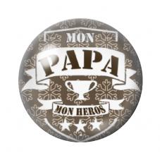 """Cabochon en Verre Illustré """"Mon Papa mon Héros"""" 12 à 25mm pour la Création de Bijoux Fantaisie - DIY"""