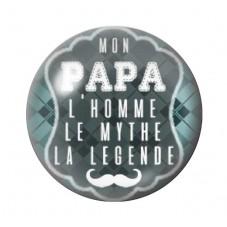 """Cabochon en Verre Illustré """"Mon Papa la Légende"""" 12 à 25mm pour la Création de Bijoux Fantaisie - DIY"""