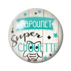 """Cabochon en Verre Illustré """"Papounet Super Chouette"""" 12 à 25mm pour la Création de Bijoux Fantaisie - DIY"""