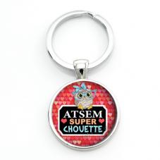 """Porte-clé """"Atsem Super Chouette"""" Cadeau de Fin d'Année d'École pour la Création de Bijoux Fantaisie - DIY"""