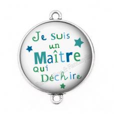 """Connecteur Cabochon en Résine """"Je suis un Maître qui Déchire"""" 25mm pour la Création de Bijoux Fantaisie - DIY"""