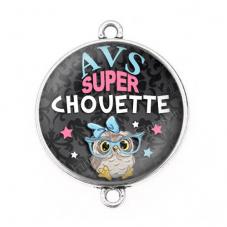 """Connecteur Cabochon en Résine """"AVS Super Chouette"""" 25mm pour la Création de Bijoux Fantaisie - DIY"""