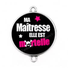 """Connecteur Cabochon en Résine """"Maîtresse Mortelle"""" 25mm pour la Création de Bijoux Fantaisie - DIY"""