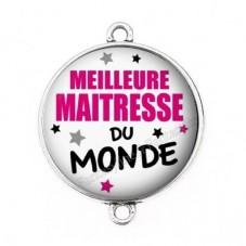 """Connecteur Cabochon en Résine """"Meilleure Maîtresse du Monde"""" 25mm pour la Création de Bijoux Fantaisie - DIY"""
