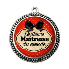 """Pendentif Cabochon en Résine """"Meilleure Maîtresse du Monde"""" 25mm pour la Création de Bijoux Fantaisie - DIY"""