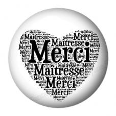 """Cabochon en Résine à Coller """"Merci Maîtresse"""" 25mm pour la Création de Bijoux Fantaisie - DIY"""