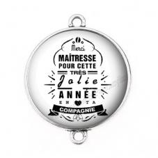 """Connecteur Cabochon en Résine """"Merci Maîtresse"""" 25mm pour la Création de Bijoux Fantaisie - DIY"""