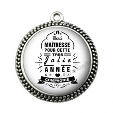 """Pendentif Cabochon en Résine """"Merci Maîtresse"""" 25mm pour la Création de Bijoux Fantaisie - DIY"""