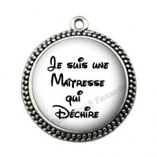 """Pendentif Cabochon en Résine """"Maîtresse qui Déchire"""" 25mm pour la Création de Bijoux Fantaisie - DIY"""