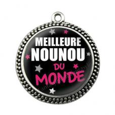"""Pendentif Cabochon en Résine """"Meilleure Nounou du Monde"""" 25mm pour la Création de Bijoux Fantaisie - DIY"""