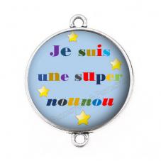 """Connecteur Cabochon en Résine """"Super Nounou"""" 25mm pour la Création de Bijoux Fantaisie - DIY"""