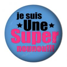 """Cabochon en Résine à Coller """"Super Nounou"""" 25mm pour la Création de Bijoux Fantaisie - DIY"""