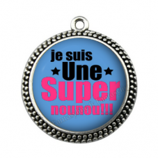 """Pendentif Cabochon en Résine """"Super Nounou"""" 25mm pour la Création de Bijoux Fantaisie - DIY"""