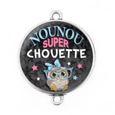 """Connecteur Cabochon en Résine """"Nounou Super Chouette"""" 25mm pour la Création de Bijoux Fantaisie - DIY"""