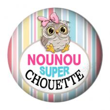 """Cabochon en Résine à Coller """"Nounou Super Chouette"""" 25mm pour la Création de Bijoux Fantaisie - DIY"""