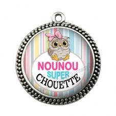 """Pendentif Cabochon en Résine """"Nounou Super Chouette"""" 25mm pour la Création de Bijoux Fantaisie - DIY"""