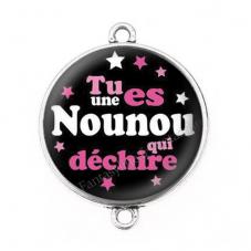 """Connecteur Cabochon en Résine """"Nounou qui Déchire"""" 25mm pour la Création de Bijoux Fantaisie - DIY"""